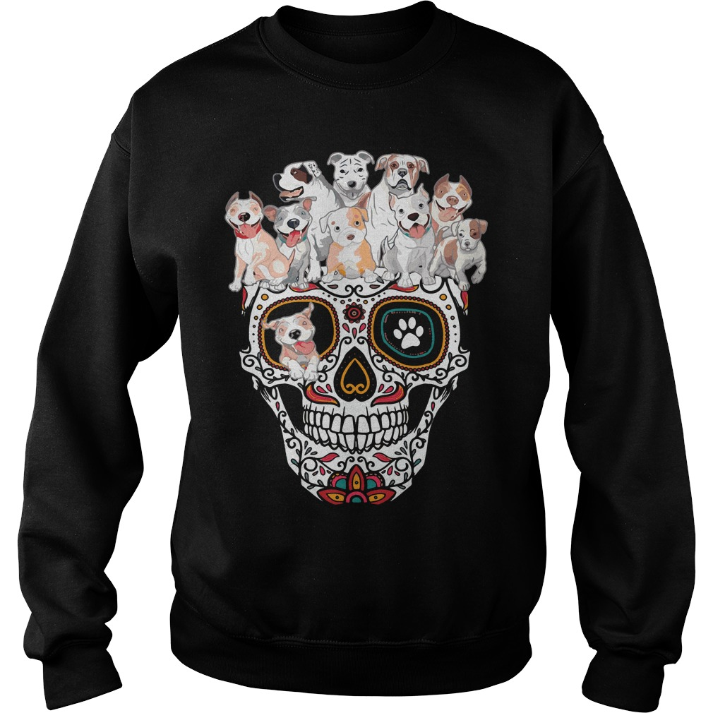 Sugar skull pitbull dog Sweater