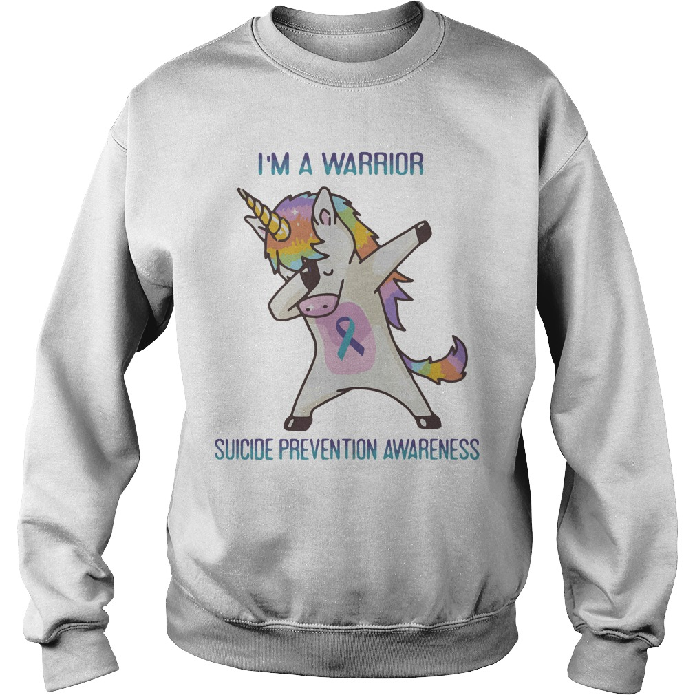 Unicorn Dabbing Im Warrior Suicide Prevention Awareness Sweater