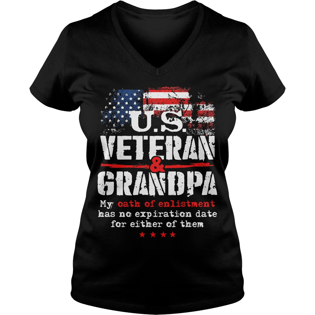 Us Veteran Grandpa V Neck T Shirt