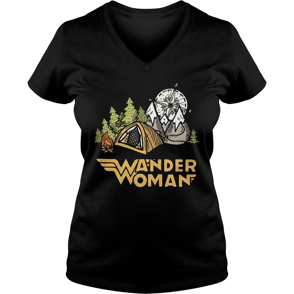 Wander woman camping compass V-neck T-shirt
