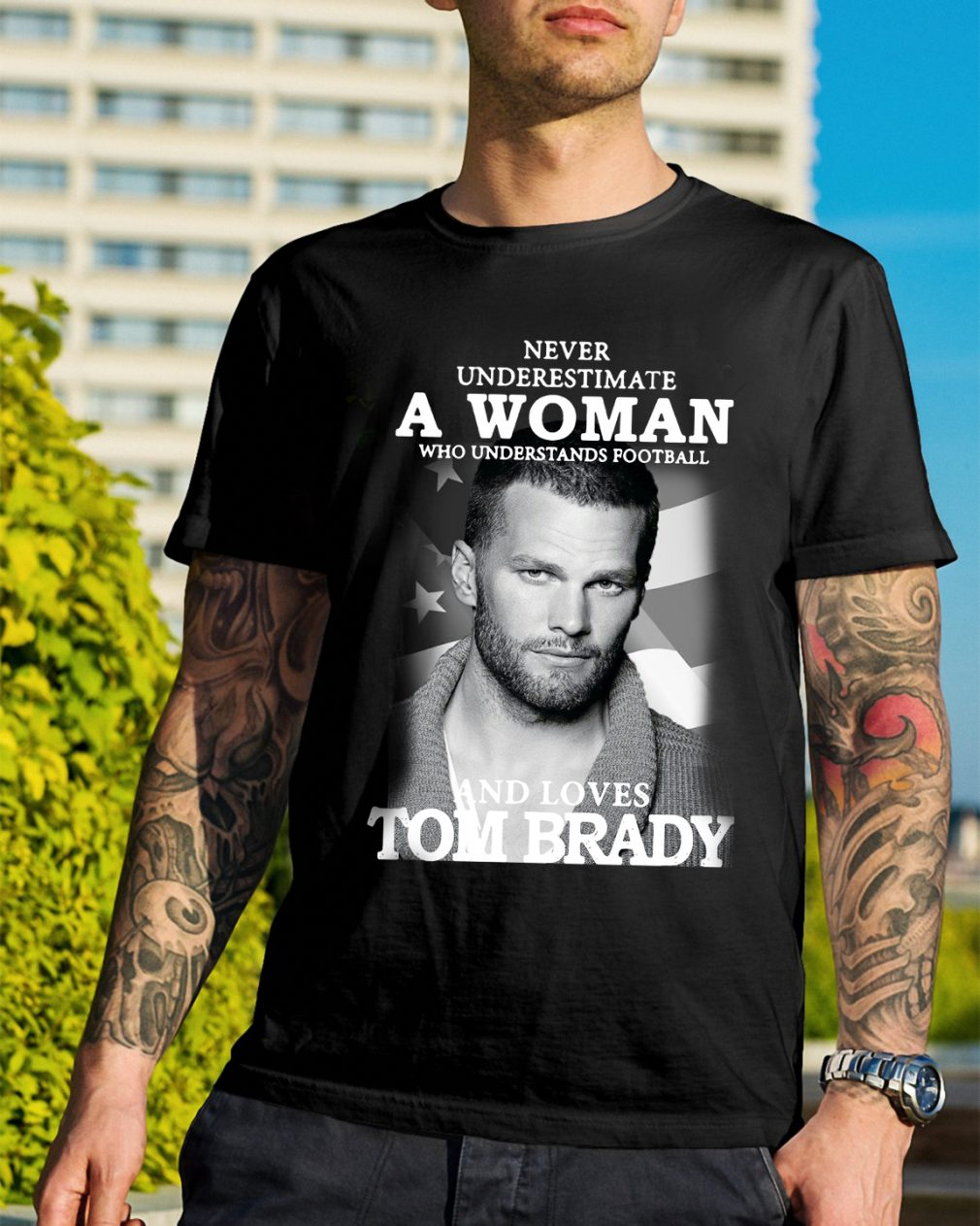 A woman who understands football and loves Tom Brady shirt