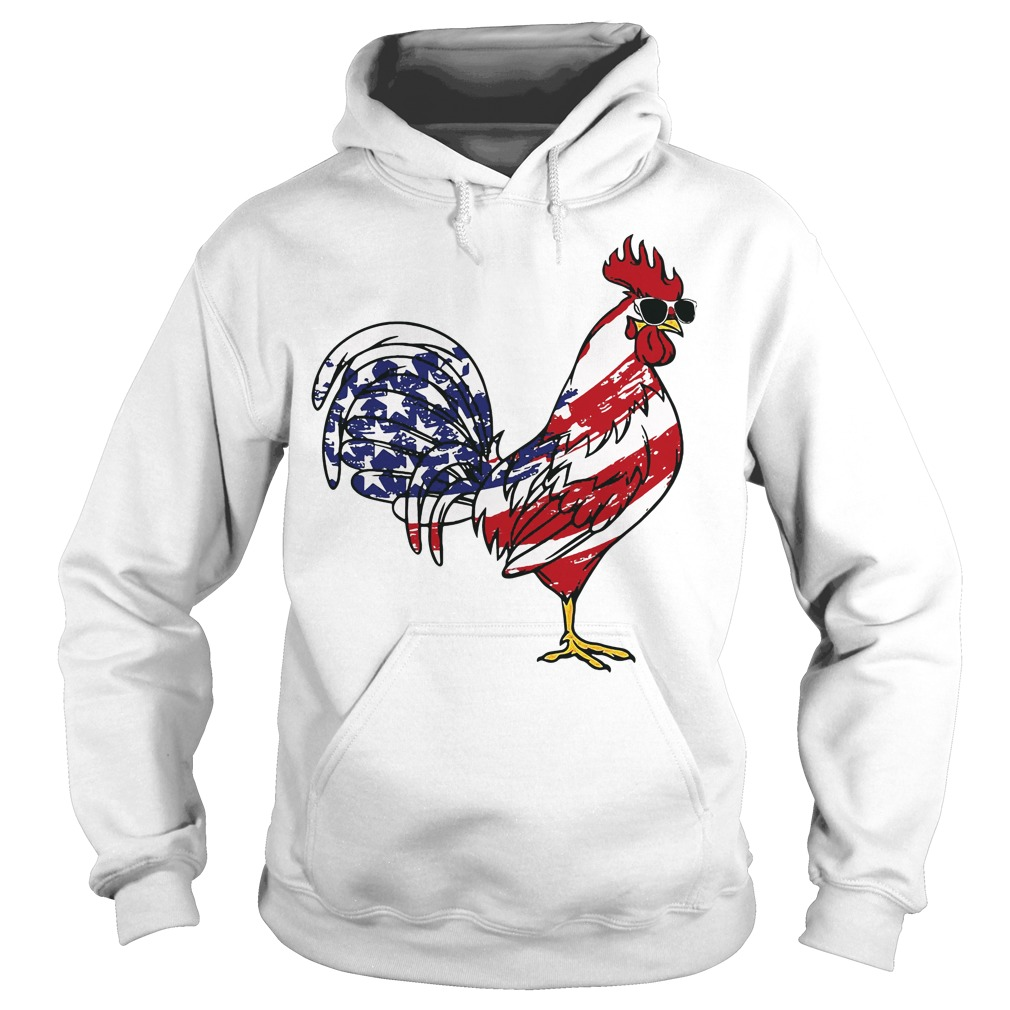 4th of July Patriotic the chicken rooster USA Flag Hoodie