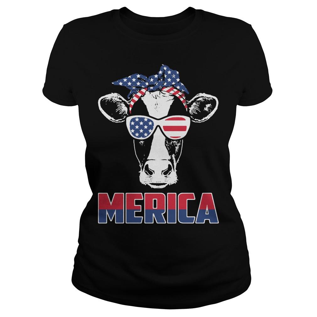 American Flag cow Ladies Tee