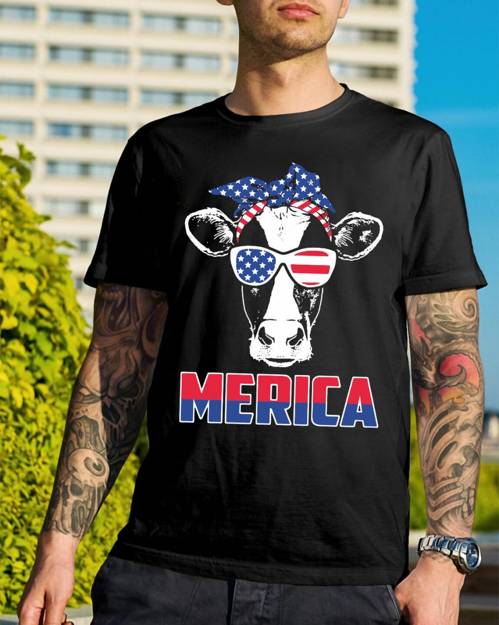 American Flag cow shirt