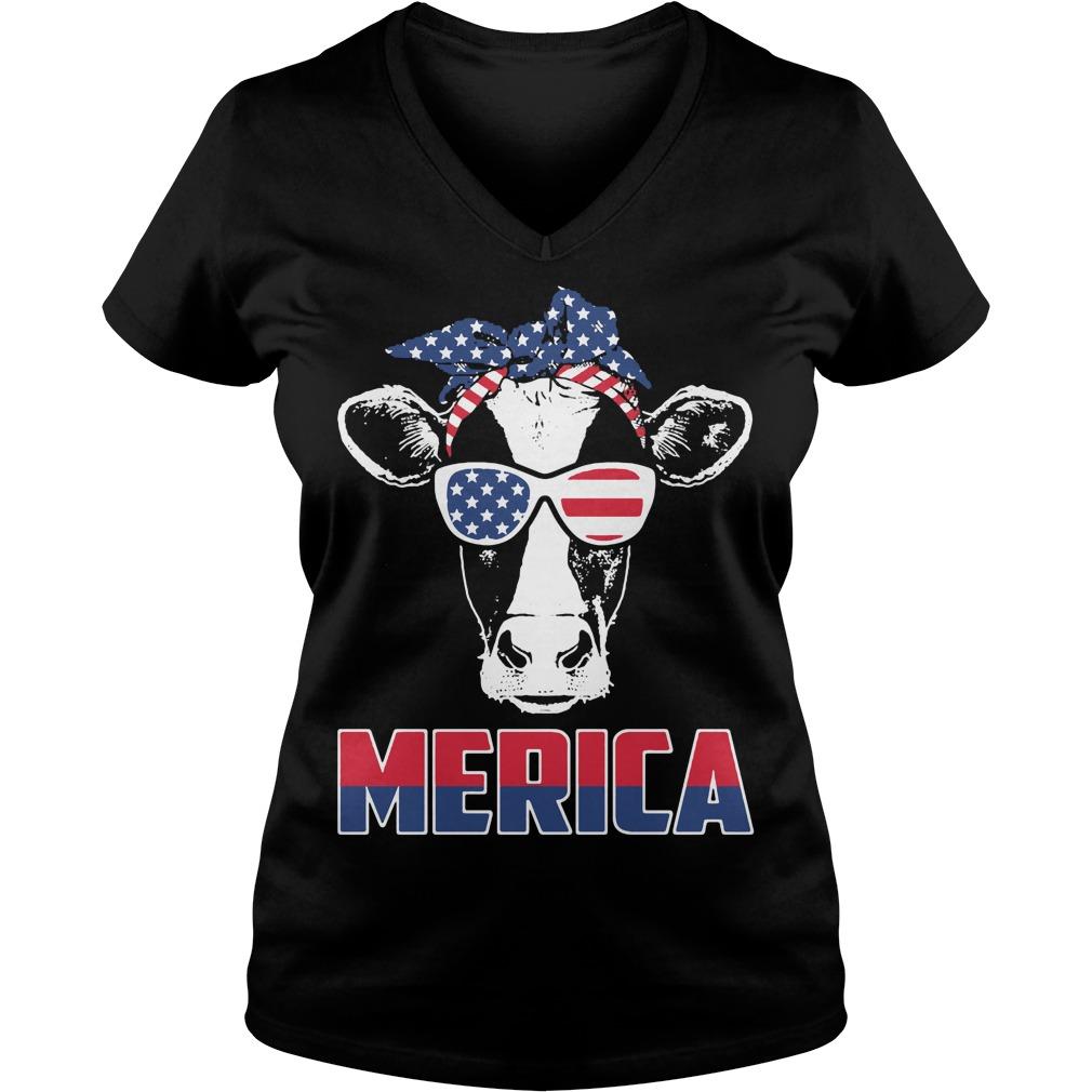 American Flag cow V-neck T-shirt