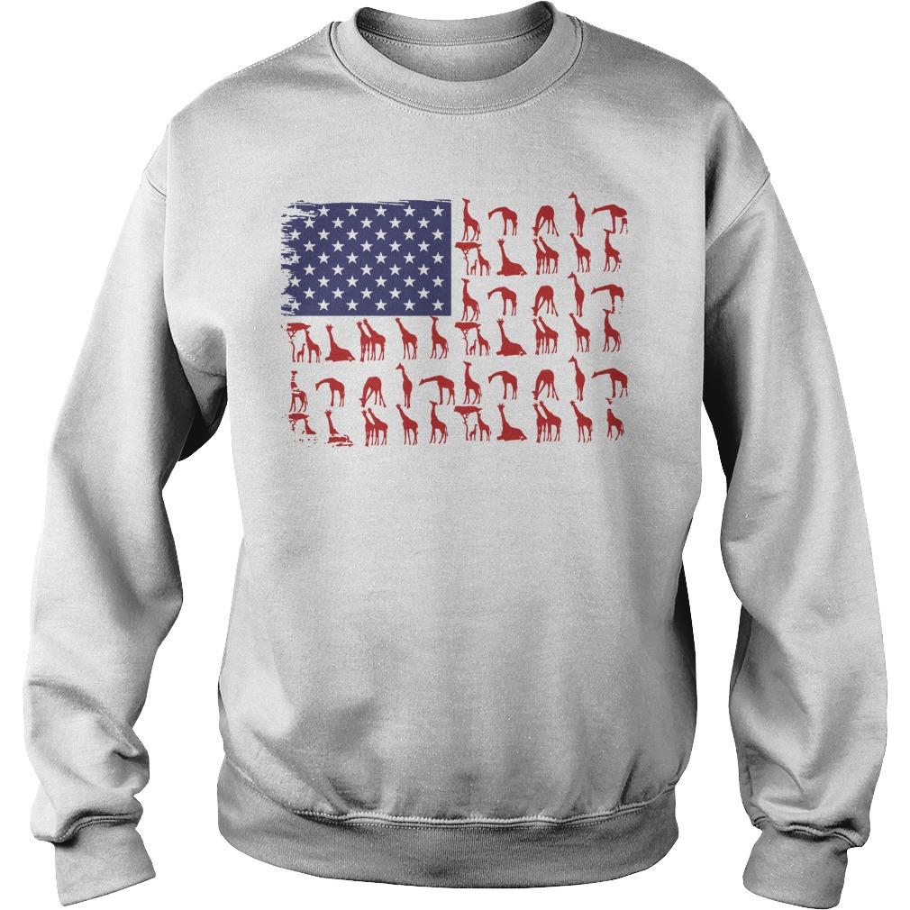American Flag giraffe classic Sweater