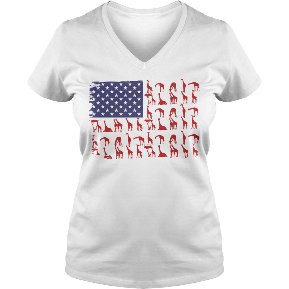 American Flag giraffe classic V-neck T-shirt