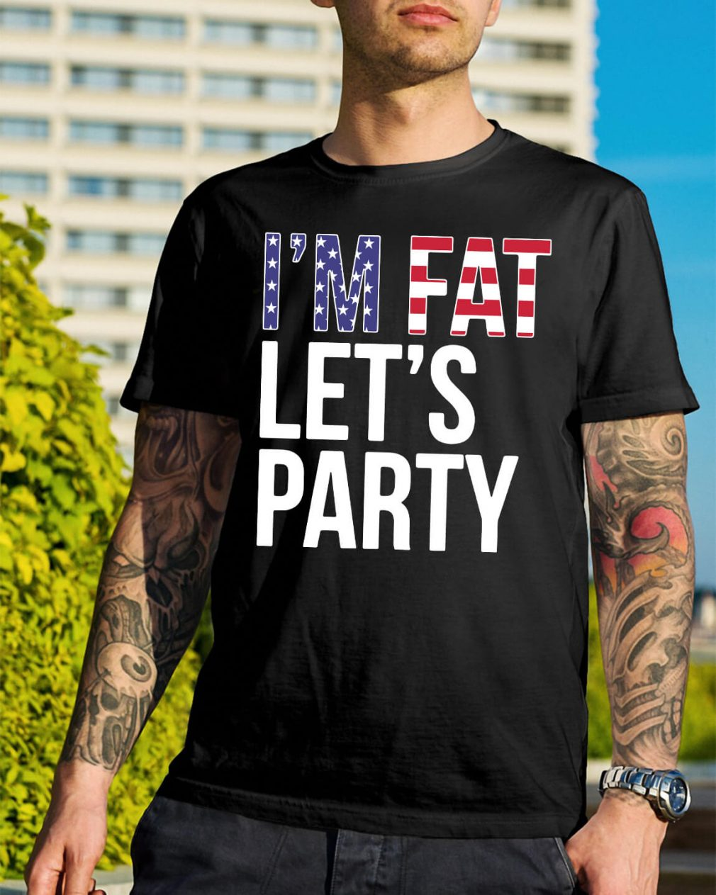American Flag I'm fat let's party shirt