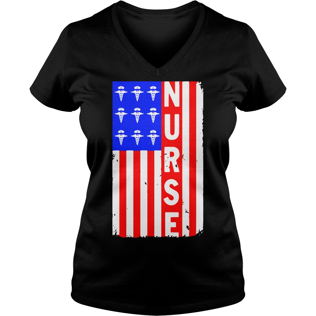 American Flag nures V-neck T-shirt