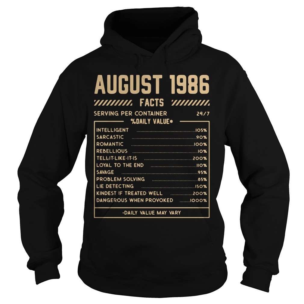 August 1986 facts serving per container % daily value Hoodie