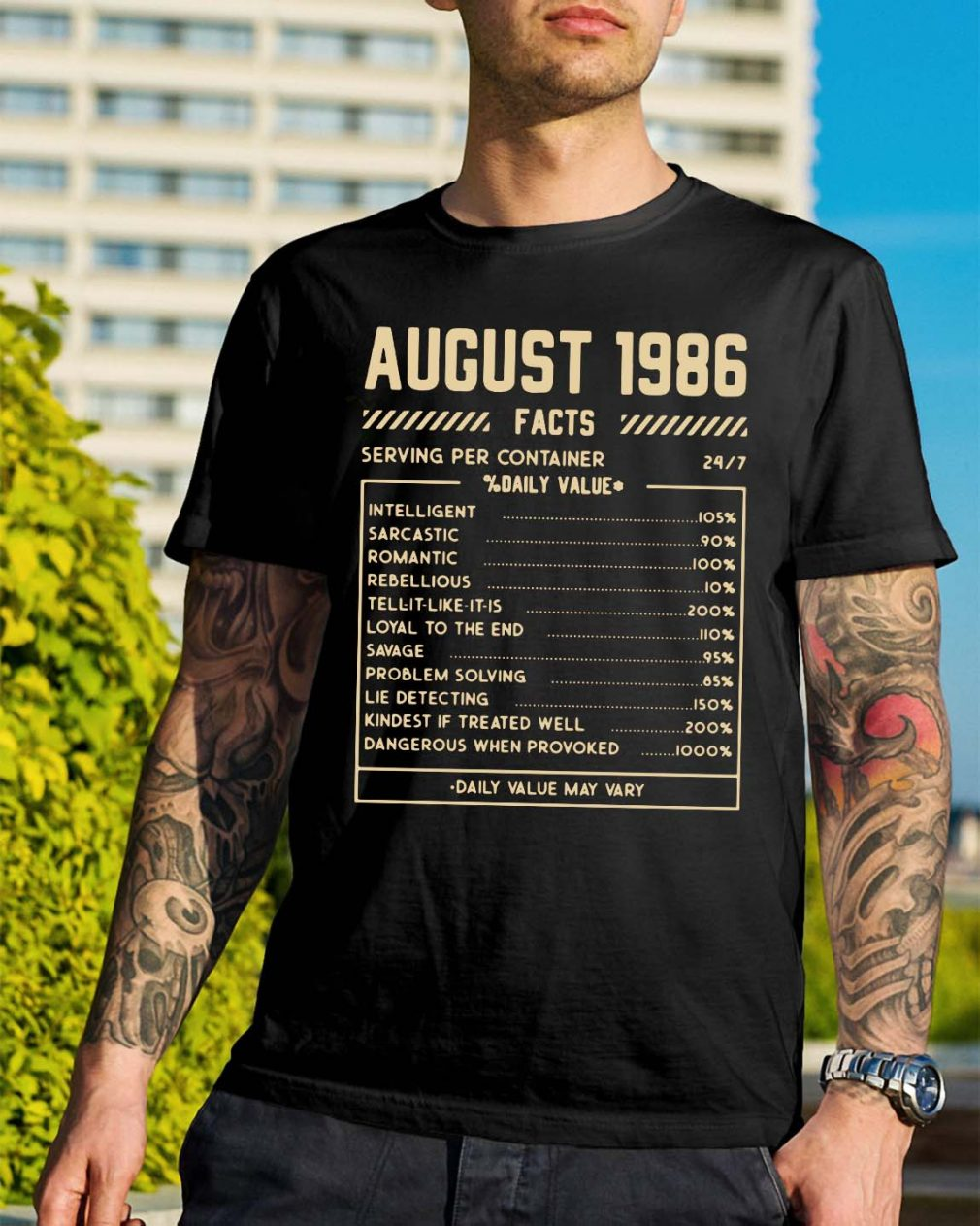 August 1986 facts serving per container % daily value shirt