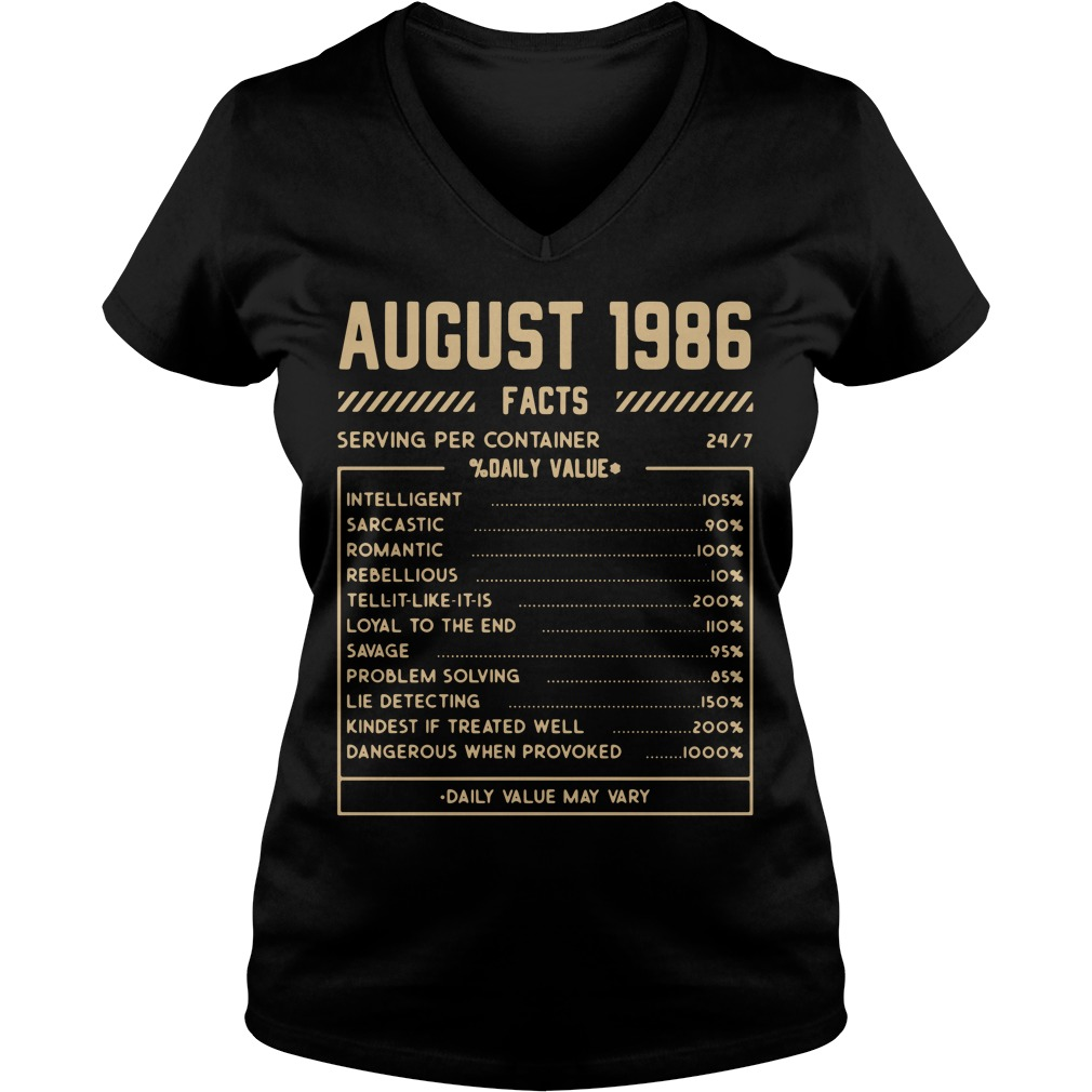 August 1986 facts serving per container % daily value V-neck T-shirt