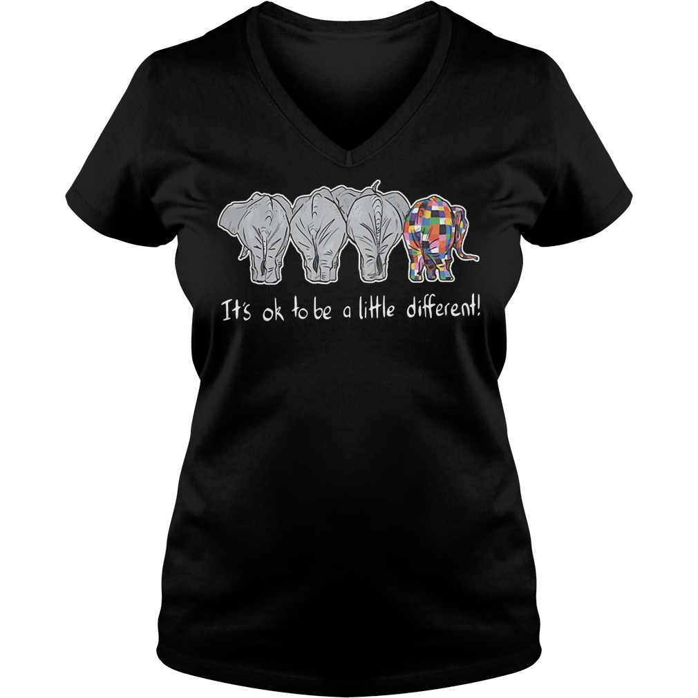 Autism elephant it's ok to be a little different V-neck T-shirt
