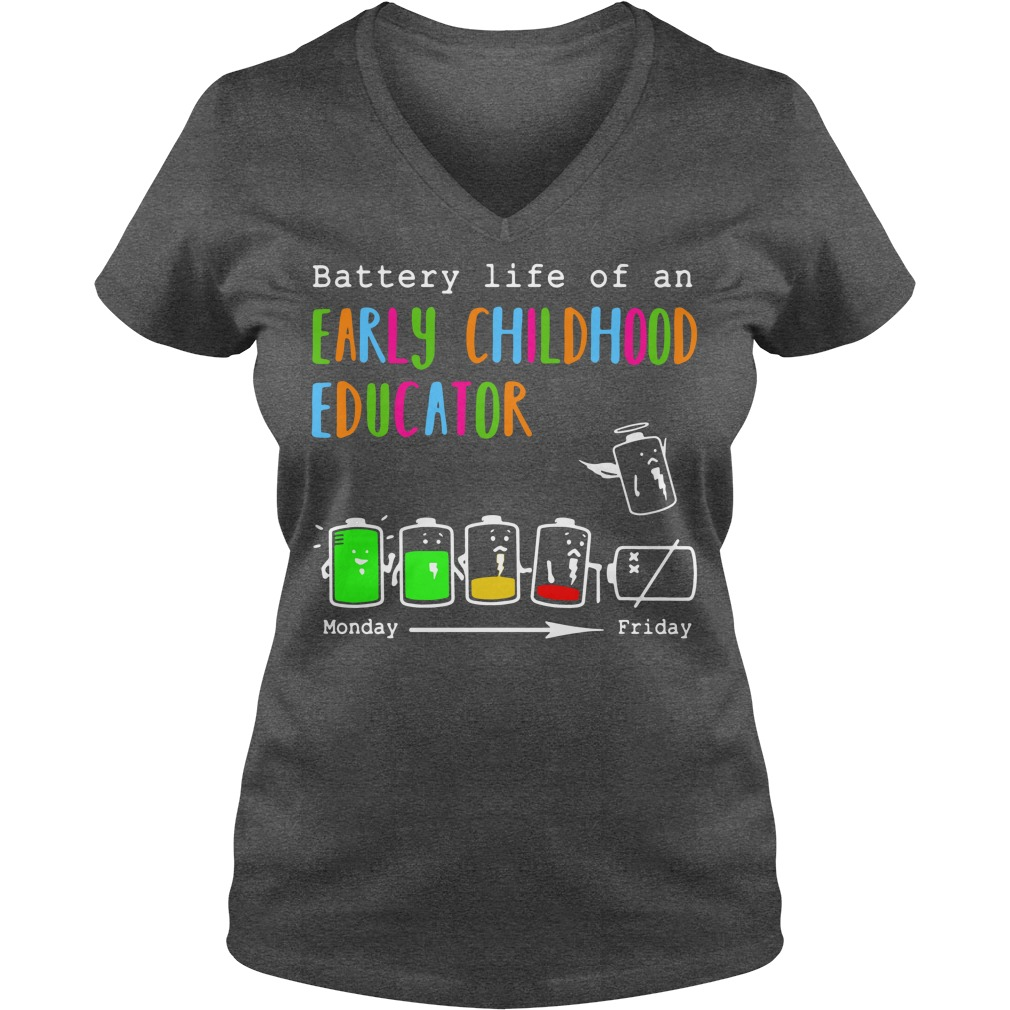 Battery life of an early childhood educator V-neck T-shirt