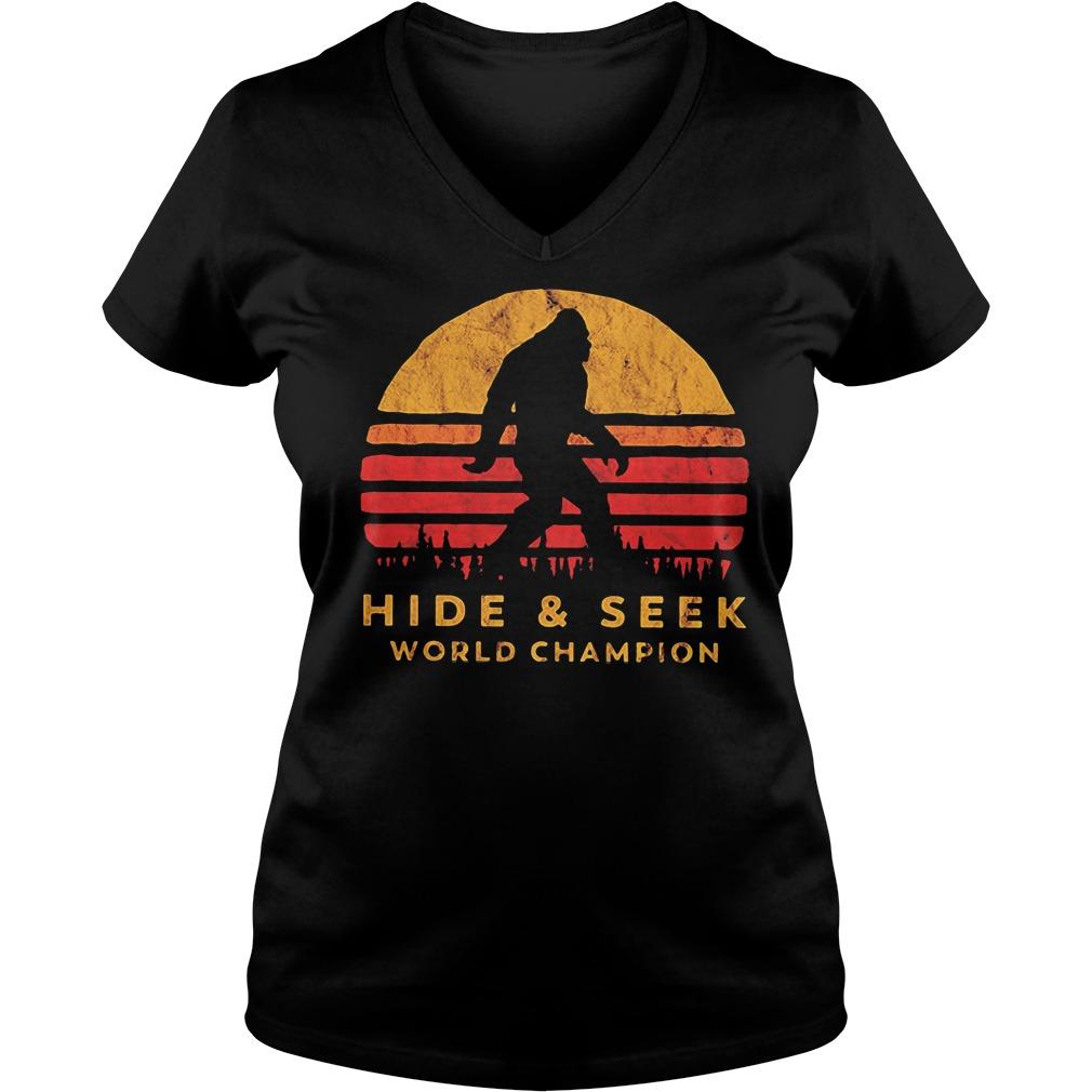 Bigfoot hide and seek world champion V-neck T-shirt