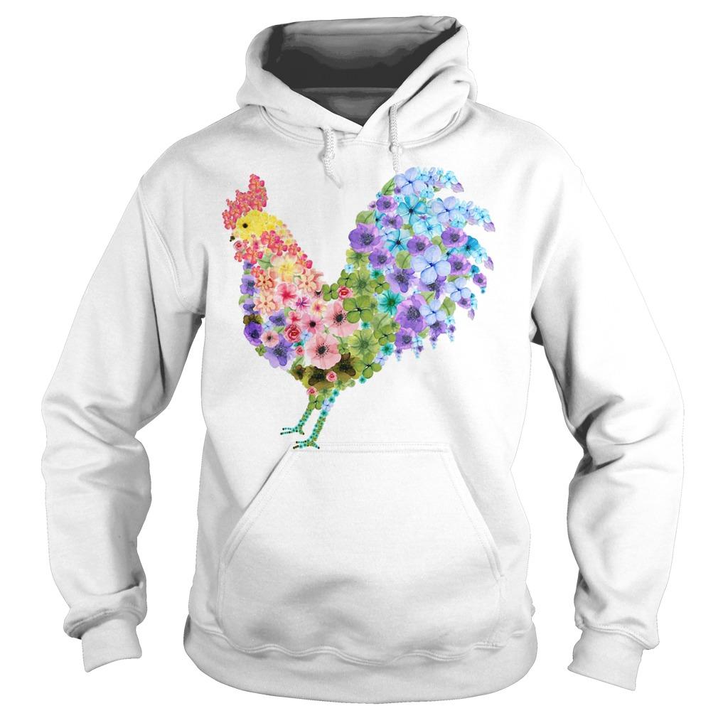 Chicken rooster flower Hoodie