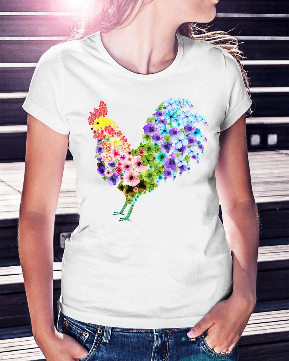 Chicken rooster flower shirt