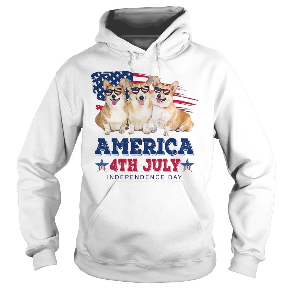 Corgi America 4th July independence day Hoodie