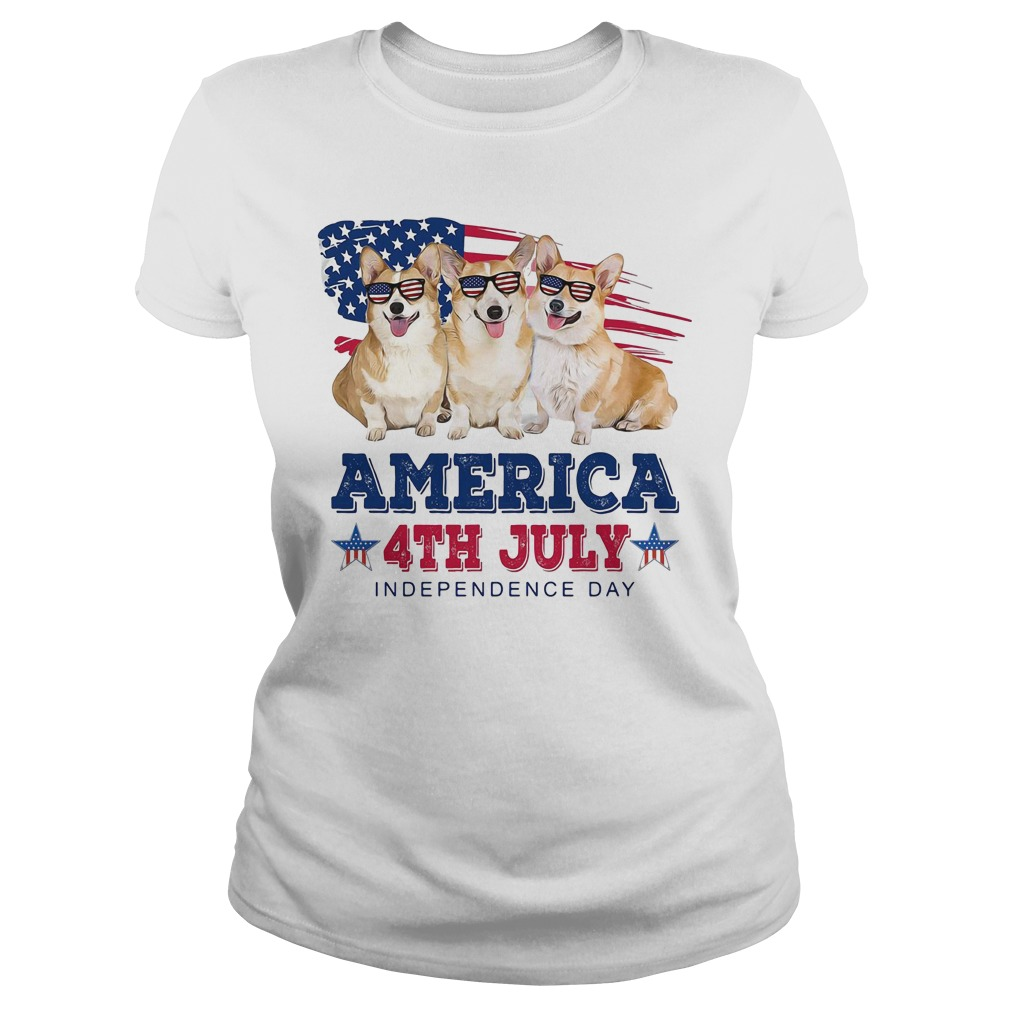 Corgi America 4th July independence day Ladies Tee