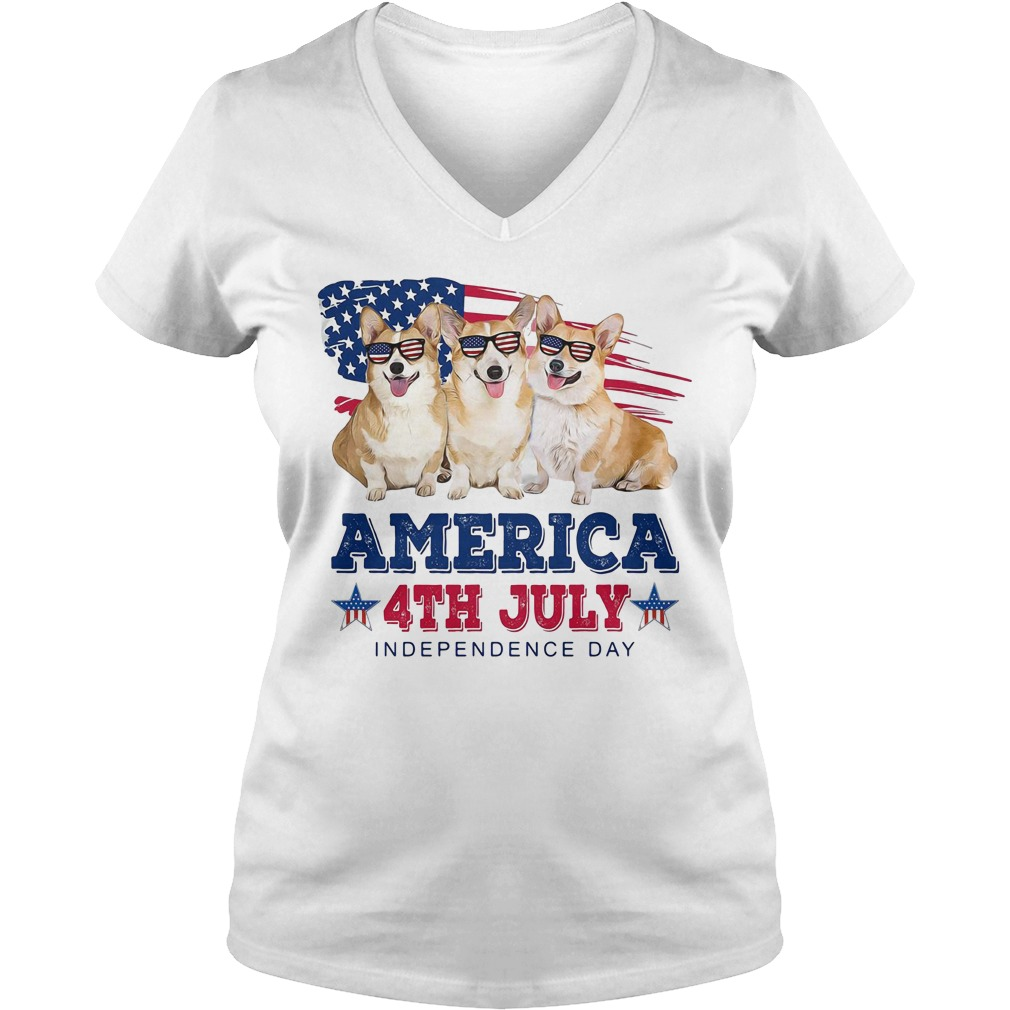 Corgi America 4th July independence day V-neck T-shirt