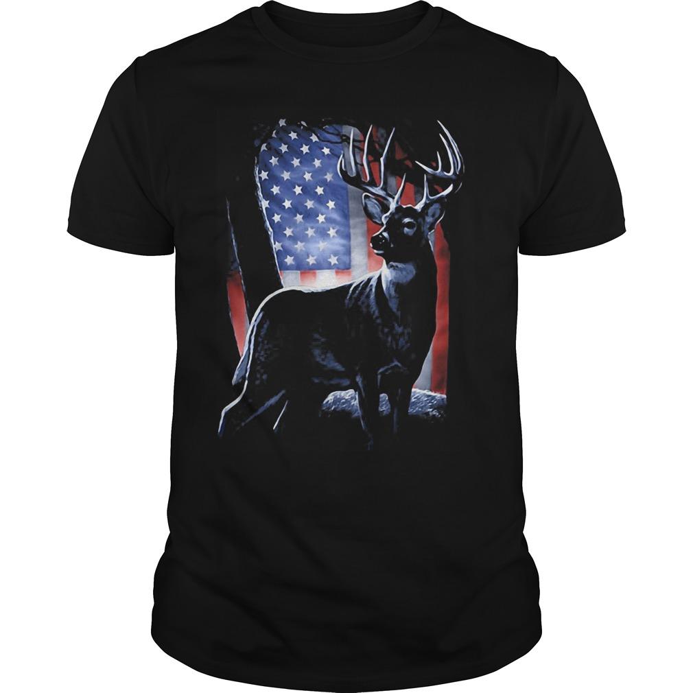 Deer American Flag Guys Shirt