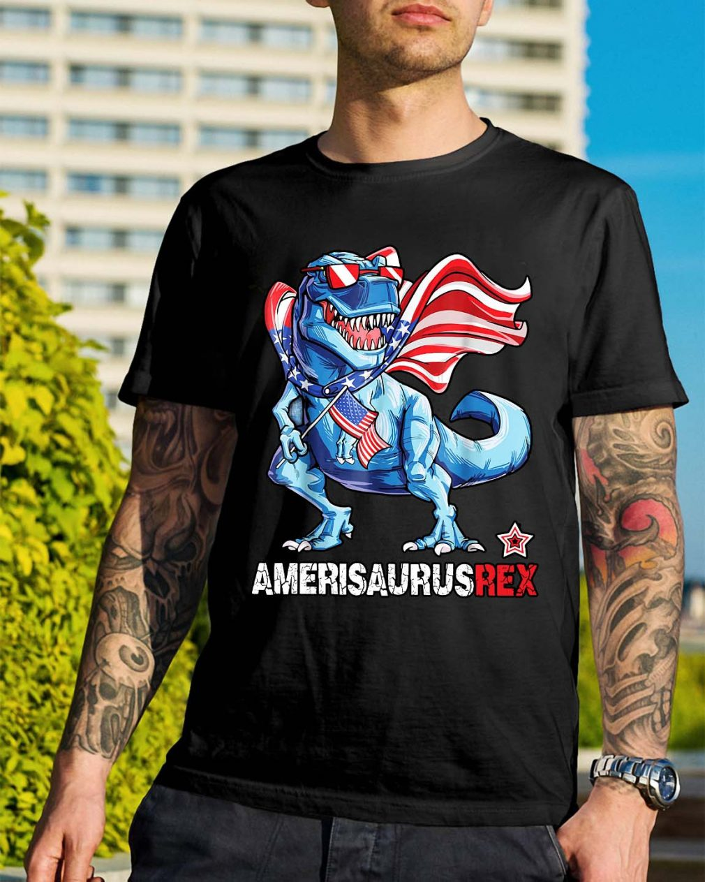 Dinosaur American Flag 4th of July Ameri Saurus rex shirt