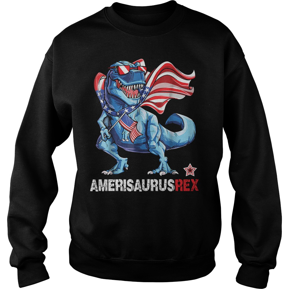 Dinosaur American Flag 4th of July Ameri Saurus rex Sweater