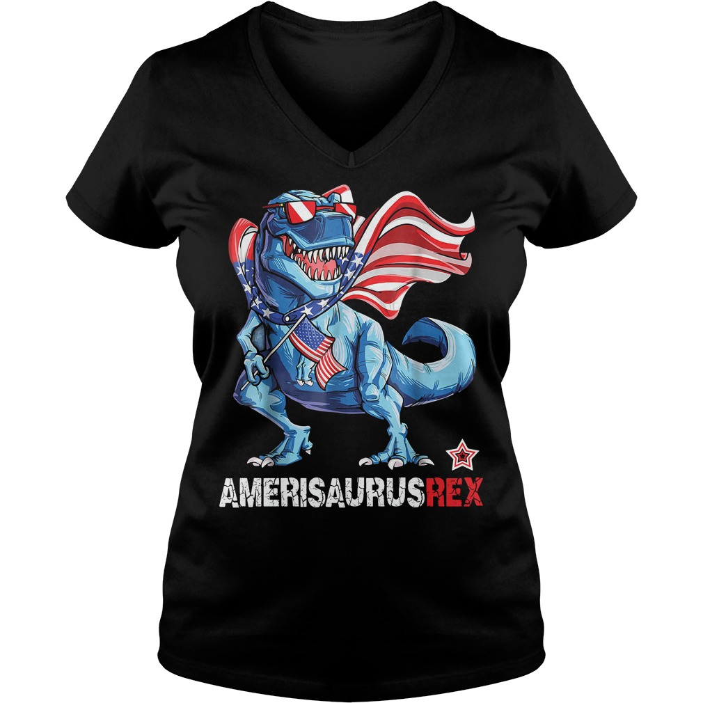 Dinosaur American Flag 4th of July Ameri Saurus rex V-neck T-shirt