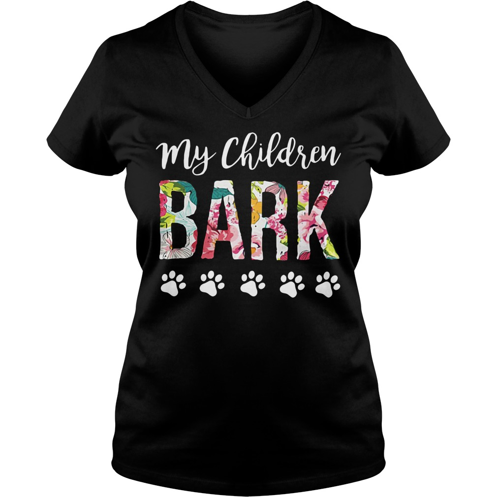 Dog lovers my children bark V-neck T-shirt