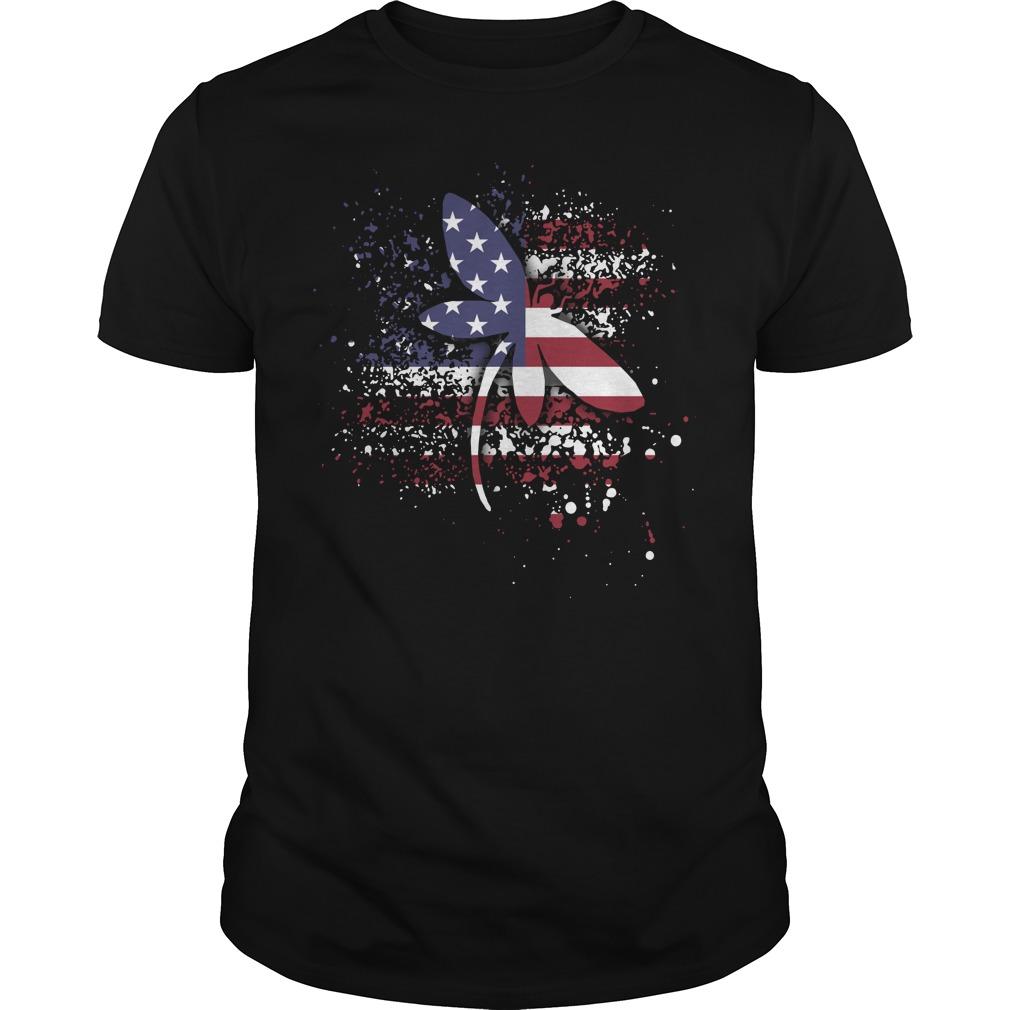 Dragonfly lady Flag Guys Shirt