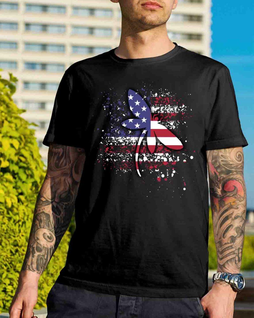 Dragonfly lady Flag shirt