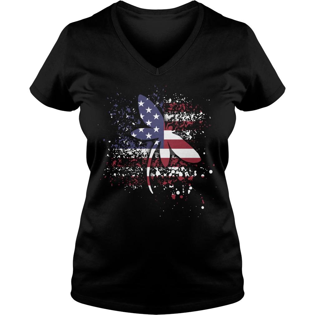 Dragonfly lady Flag V-neck T-shirt
