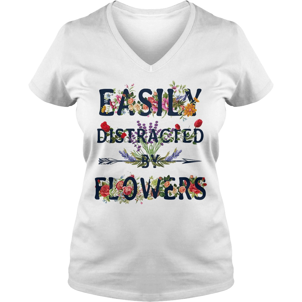 Easily distracted by flowers V-neck T-shirt