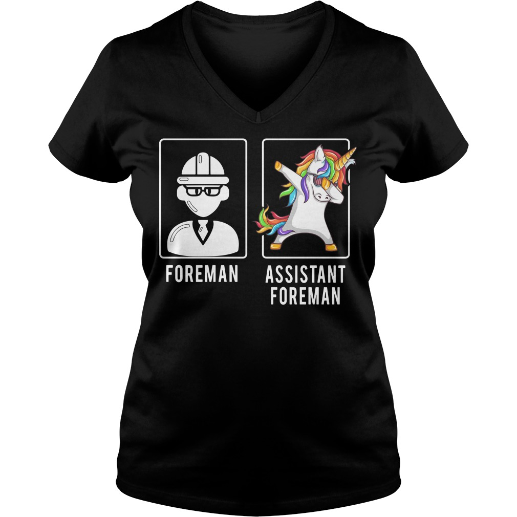 Foreman unicorn dabbing assistant foreman V-neck T-shirt