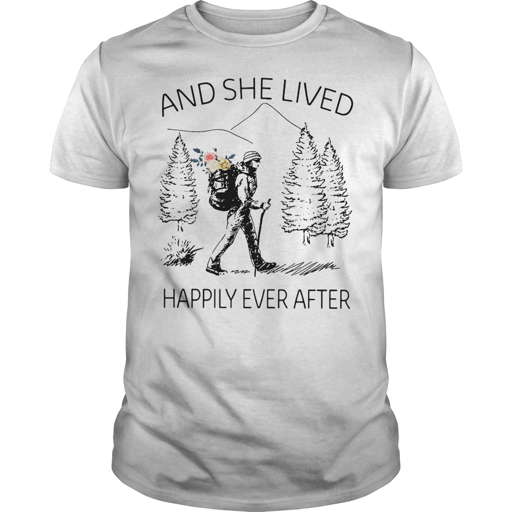 Girl backpacking sketches and she lived happily ever after Guys Shirt