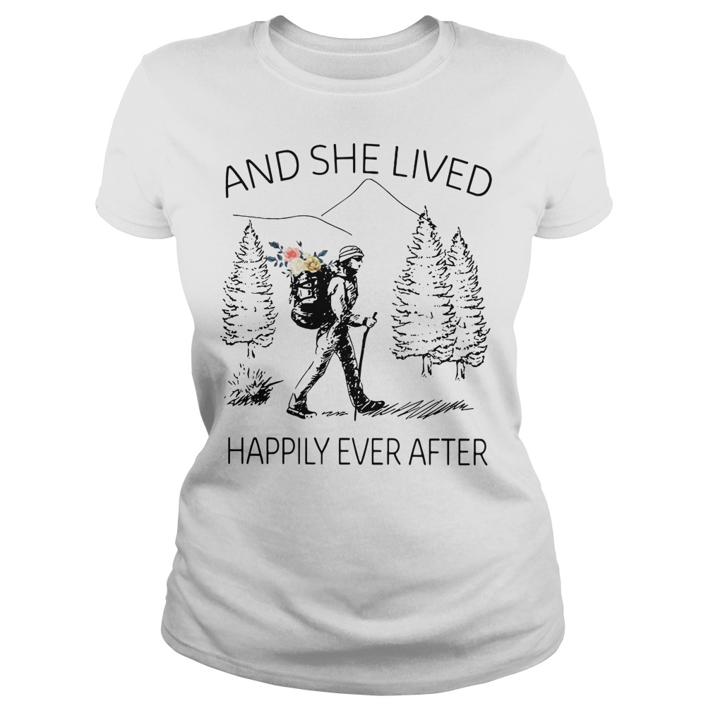 Girl backpacking sketches and she lived happily ever after Ladies Tee
