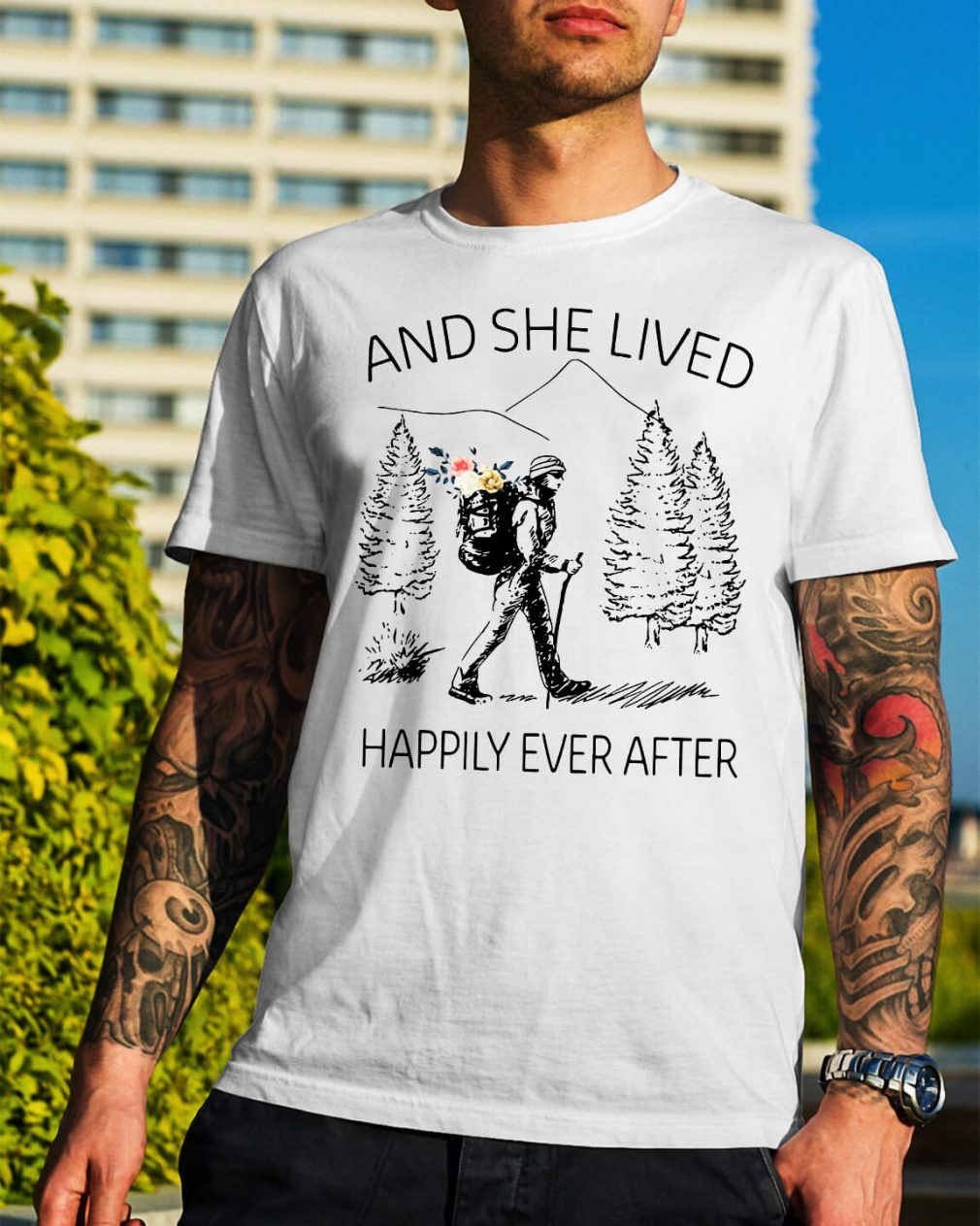 Girl backpacking sketches and she lived happily ever after shirt
