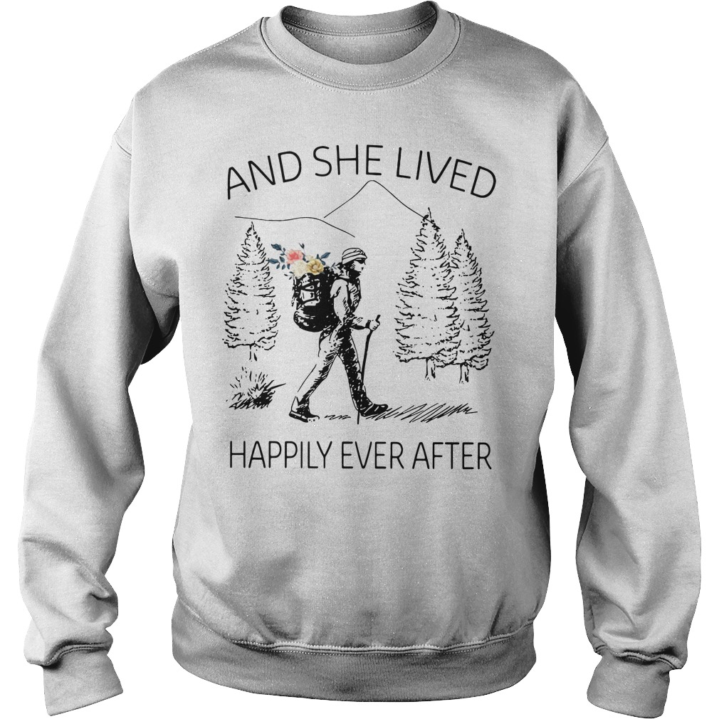 Girl backpacking sketches and she lived happily ever after Sweater