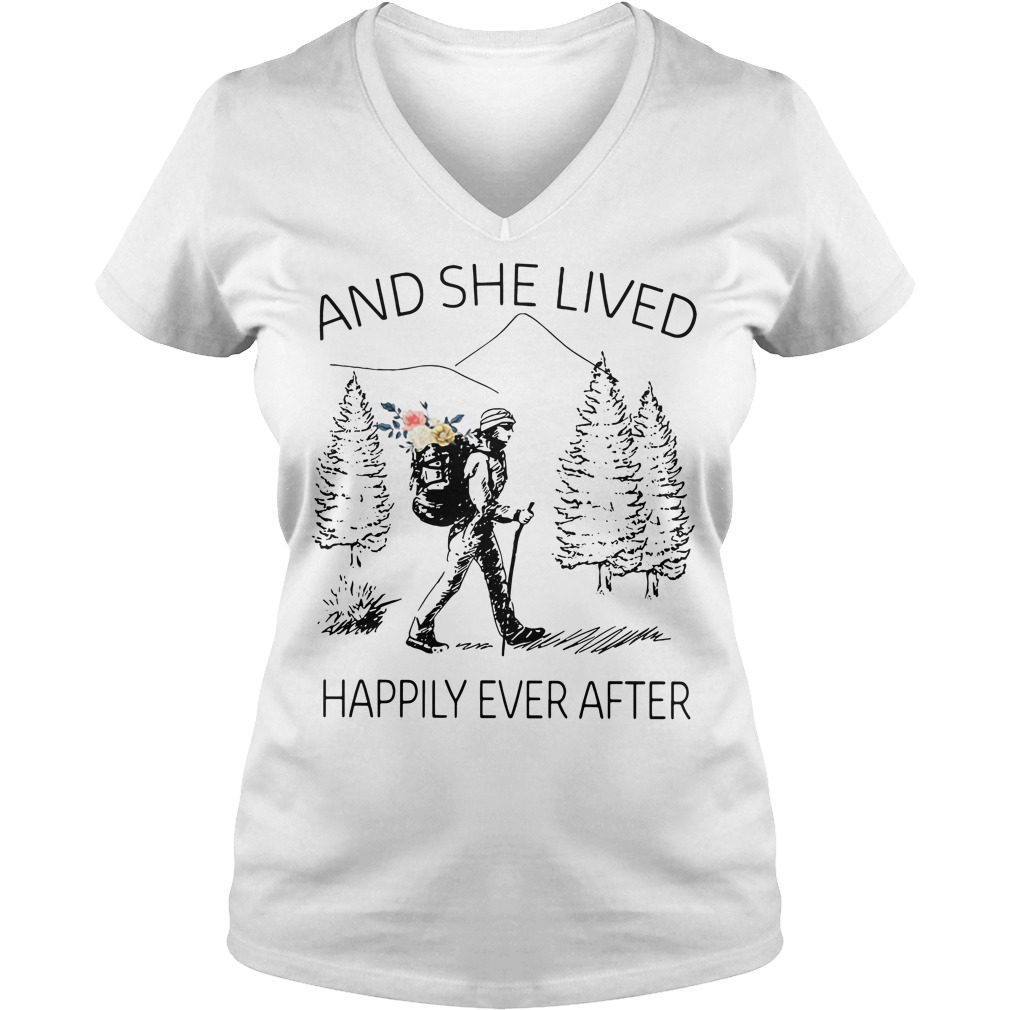 Girl backpacking sketches and she lived happily ever after V-neck T-shirt