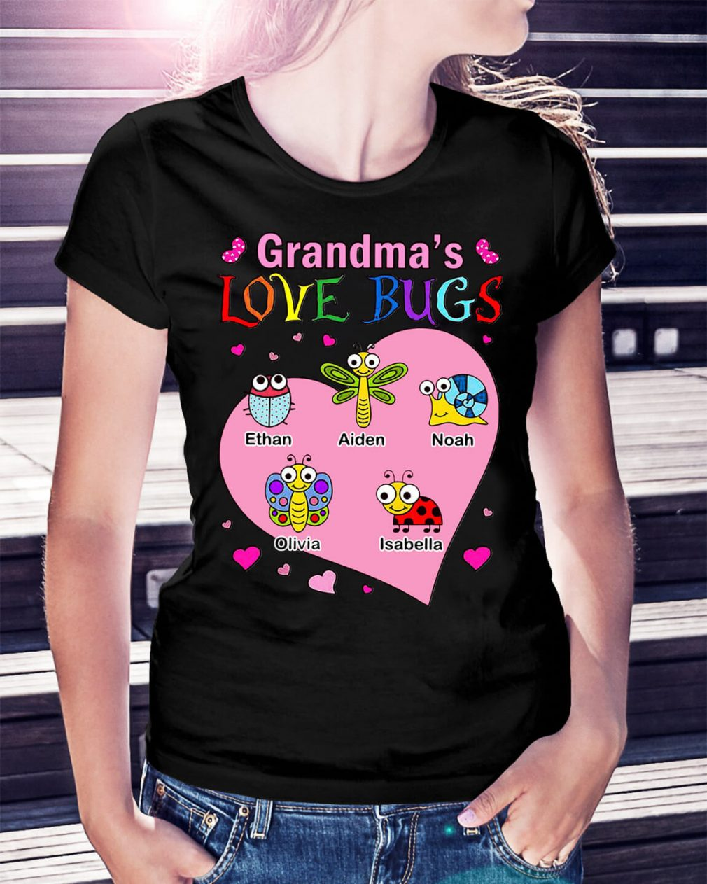 Grandma's love bugs Ethan Aiden Noah Olivia Isabella shirt