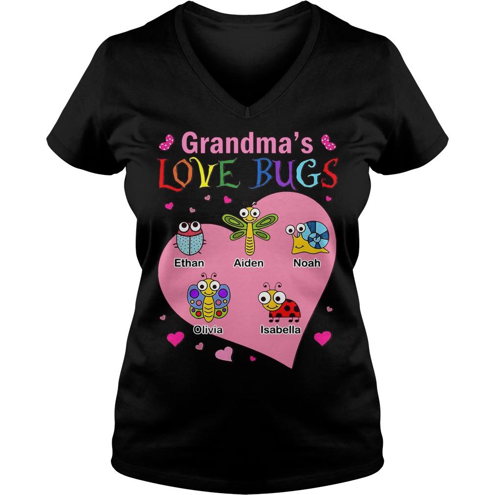 Grandma's love bugs Ethan Aiden Noah Olivia Isabella V-neck T-shirt
