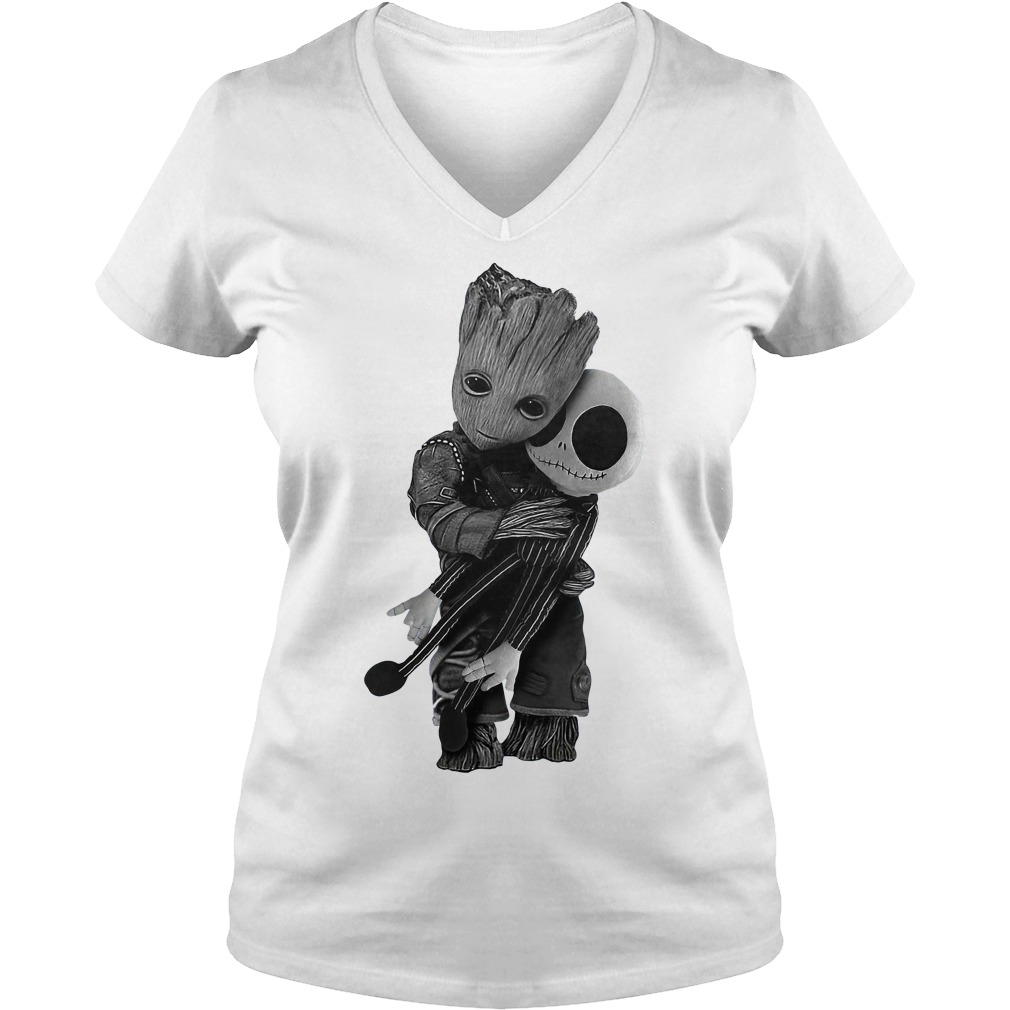 Groot hug Jack Skellington V-neck T-shirt