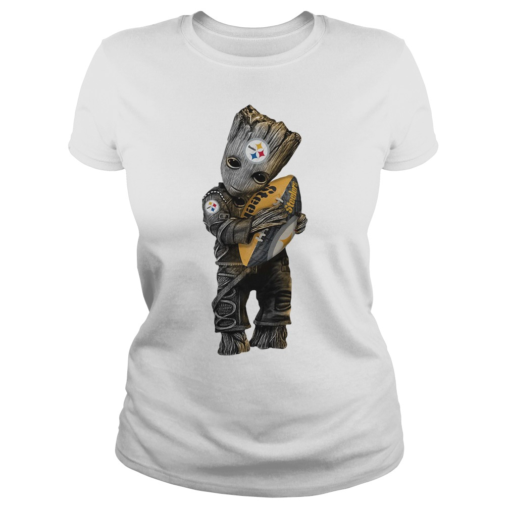 Groot hug Pittsburgh Steelers Ladies Tee