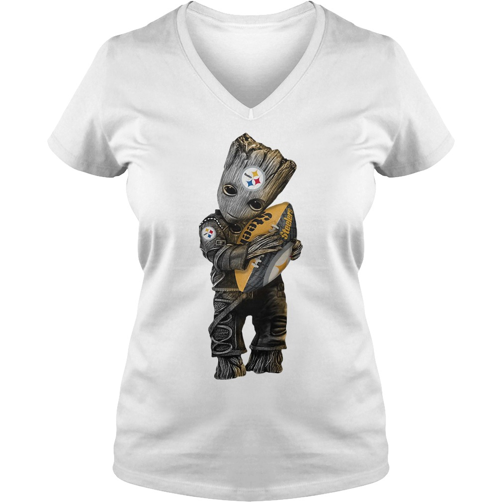Groot hug Pittsburgh Steelers V-neck T-shirt