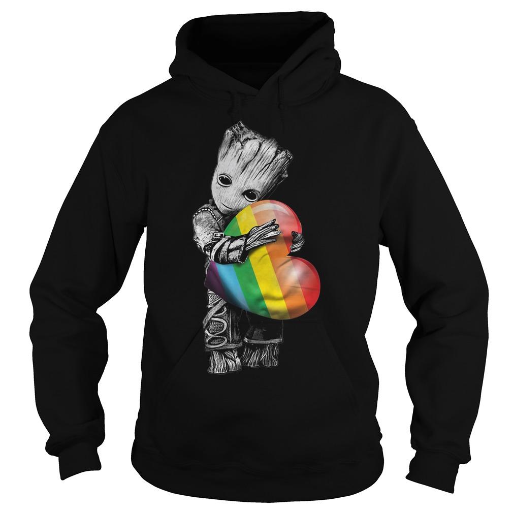 Groot hugging rainbow LGBT Hoodie