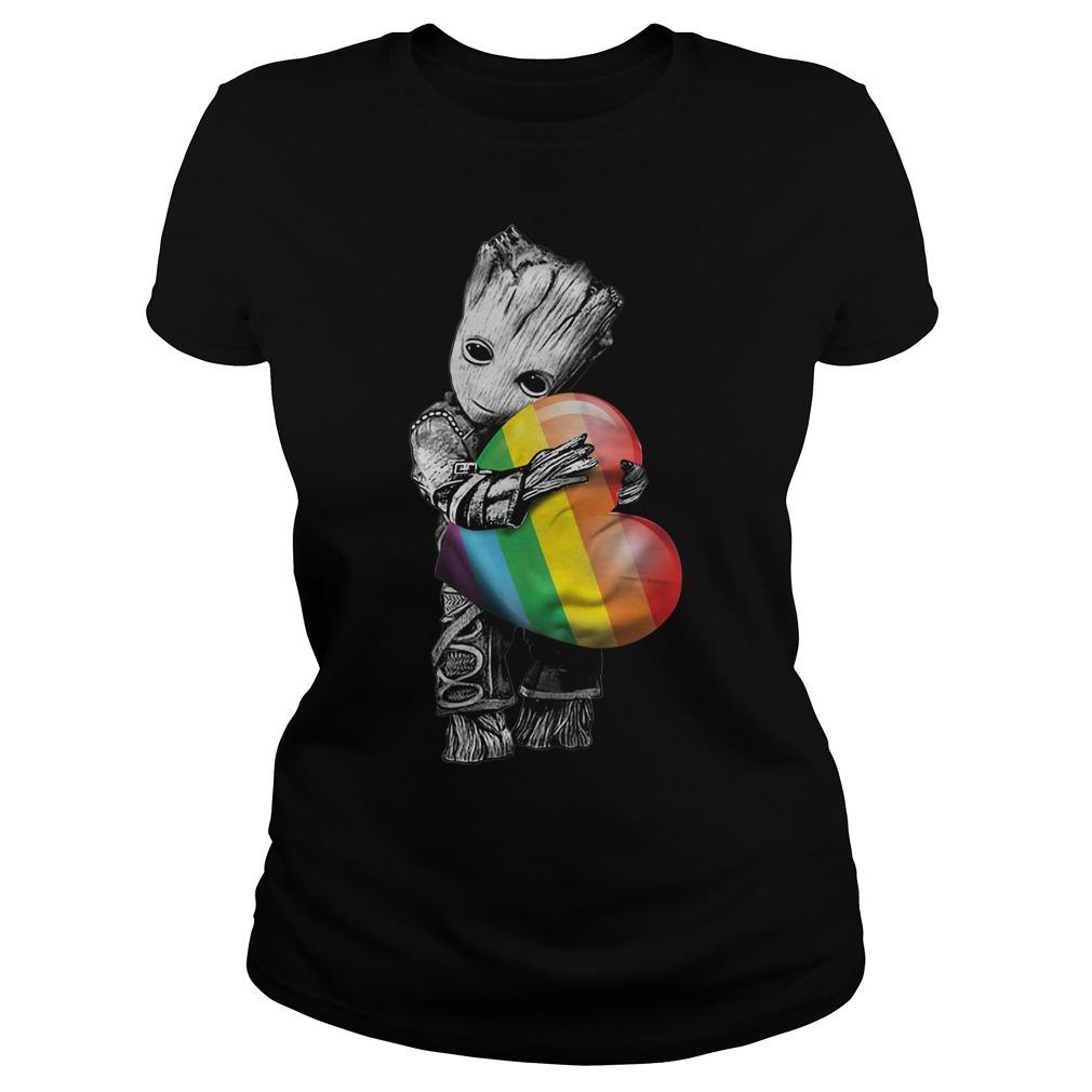Groot hugging rainbow LGBT Ladies Tee