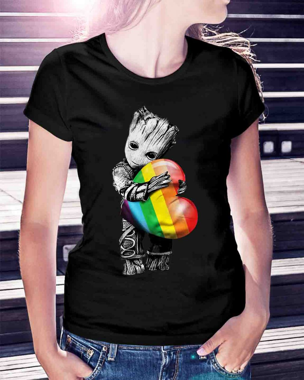 Groot hugging rainbow LGBT shirt