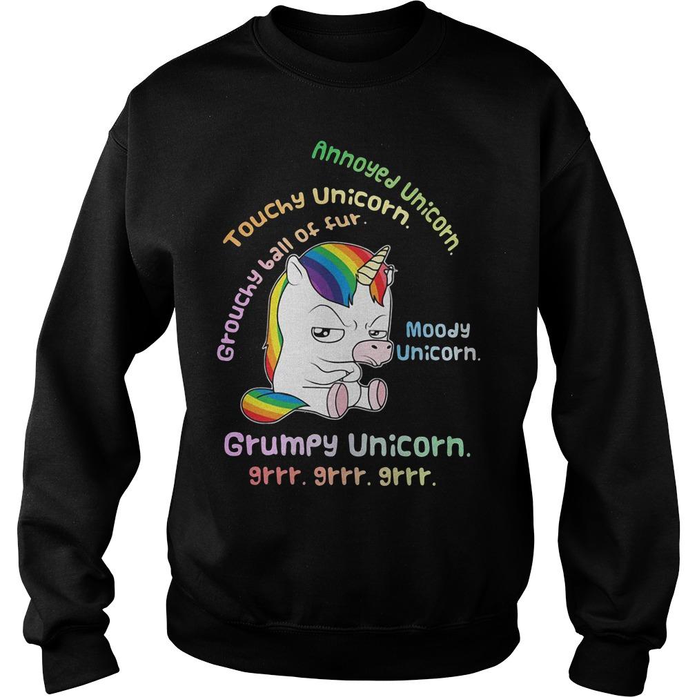 Grumpy Unicorn annoyed unicorn touchy unicorn moody unicorn Sweater