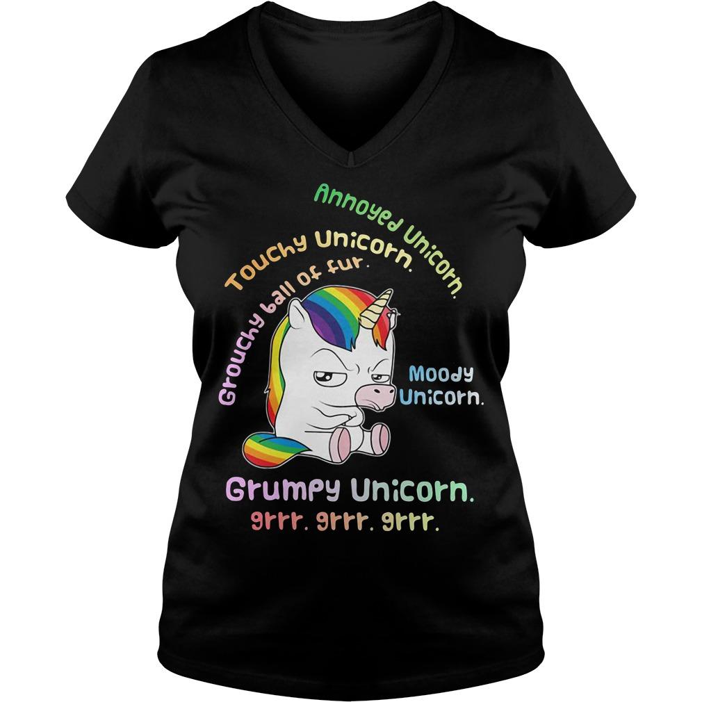 Grumpy Unicorn annoyed unicorn touchy unicorn moody unicorn V-neck T-shirt