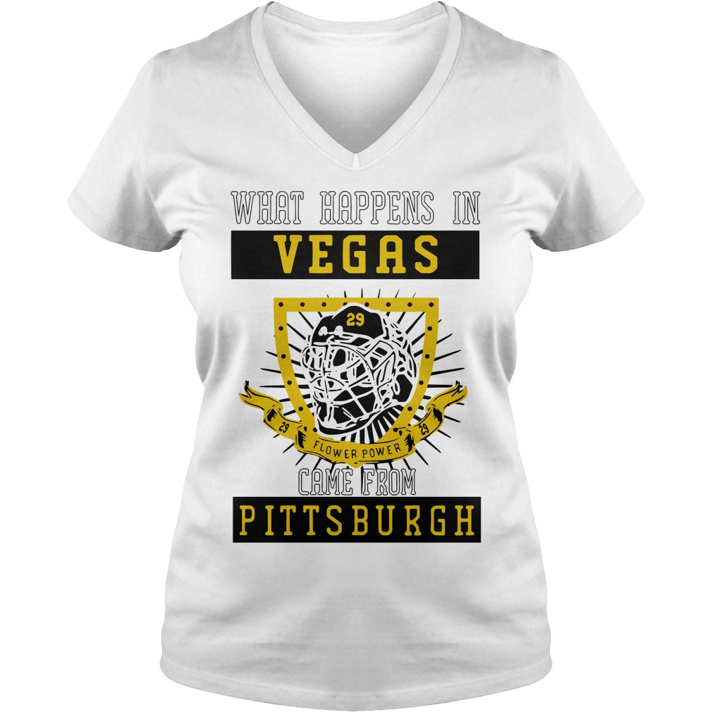 What happens in Vegas flower power came from Pittsburgh V-neck T-shirt